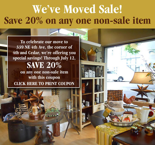 We've moved! Save 20% on one item!