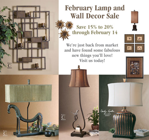 February Lamp & Wall Decor Sale! Save 15%-20%